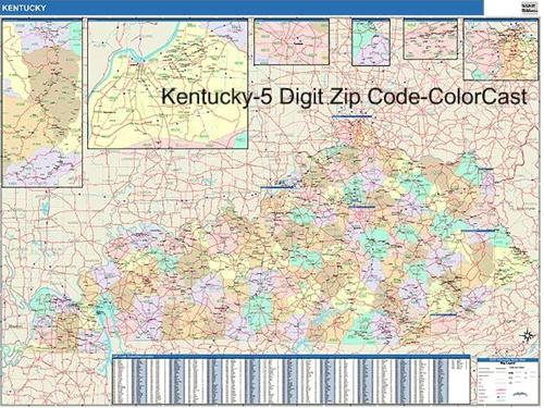 kentucky zip code map laminated product code lam kentucky zip our ...